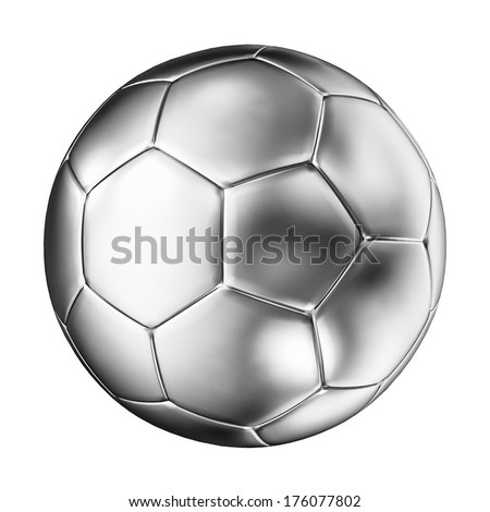 3d image of silver soccer ball - stock photo