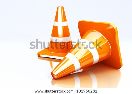 3d image of striped under construction cone