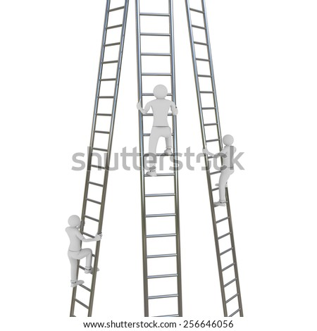 3D image of three men trying to get up on ladders. - stock photo