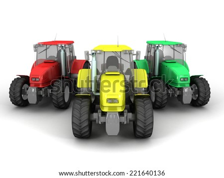 3D image of tractors on white background. - stock photo