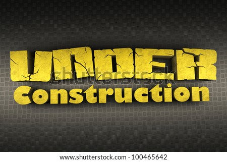 3d image of under construction text on metallic background - stock photo