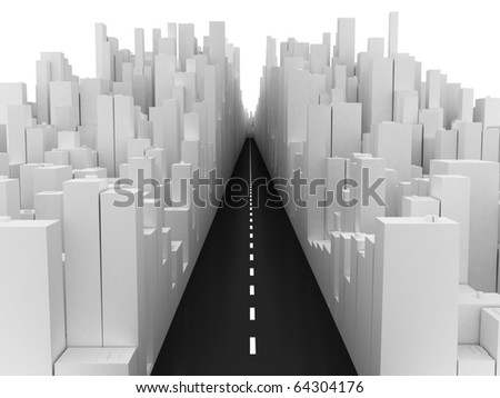 3d image of urban city with main road. - stock photo