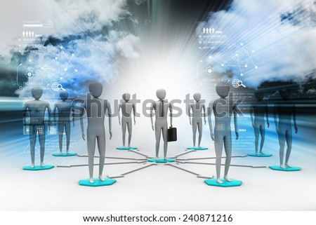 3d image of virtual men on global connection - stock photo