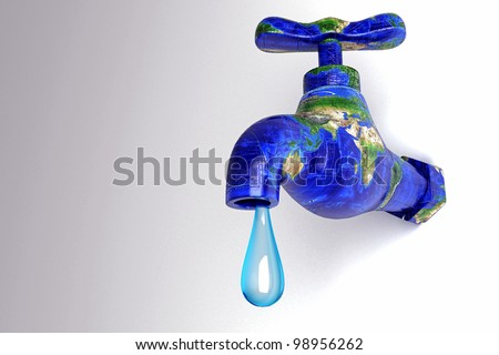 3d image of water droplet from earth in shape of faucet showing water conservation concept - stock photo