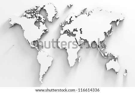 3d image of white world map - stock photo