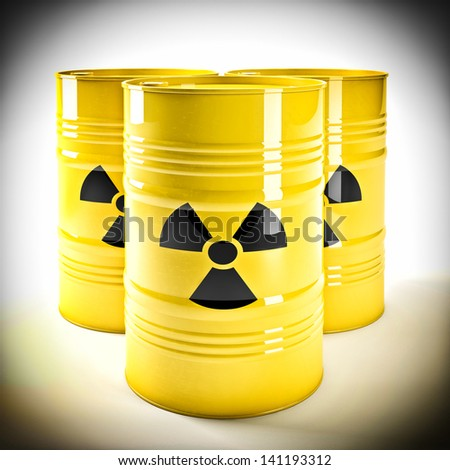 3d image of yellow radioactive barell - stock photo