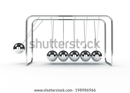 3d image render of newton's cradle on white background - stock photo