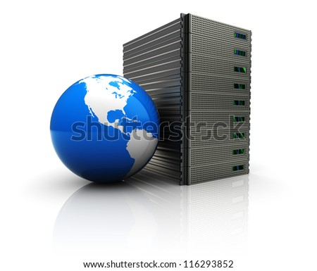 3d image, server connecting with world - stock photo