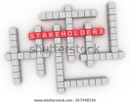 3d image Stakeholders word cloud concept