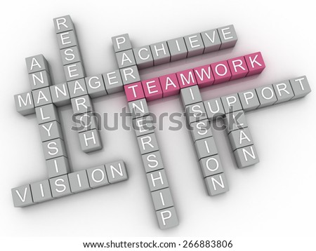 3d image Teamwork  issues concept word cloud background - stock photo