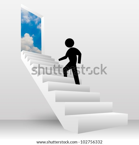 3D Image, The Man Walking Step on The Stairs To The Sky for Freedom