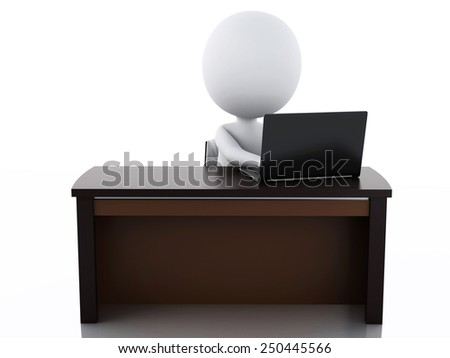 3d image. White business people working at office. Isolated white background