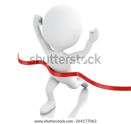 3d image. White people crossing the finishing line. Succes concept. Isolated white background - stock photo