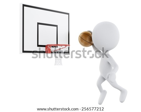 3d image. White people playing basketball trying to score. Isolated white background - stock photo