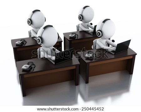 3d image. White people with a Headphones with Microphone and laptop. Employees working in a call center. - stock photo