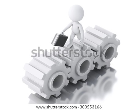 3d image. White people with briefcase in gear wheel. Business concept. Isolated white background
