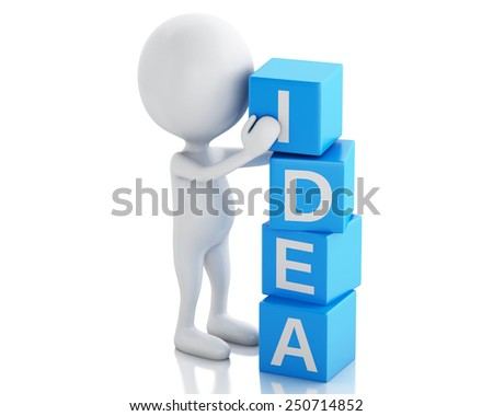 3d image. White people with cubes with word idea. Business concept. Isolated white background