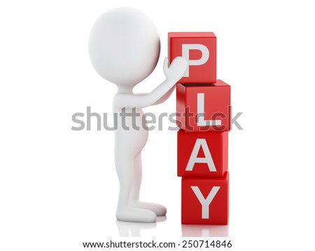 3d image. White people with cubes with word play. Isolated white background - stock photo