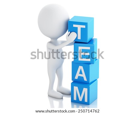 3d image. White people with cubes with word team. Business concept. Isolated white background