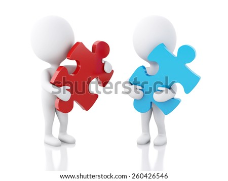 3d image. White people with piece of a puzzle. Isolated white background - stock photo
