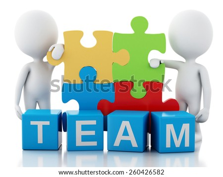 3d image. White people work together with puzzle piece. Team concept. Isolated white background - stock photo