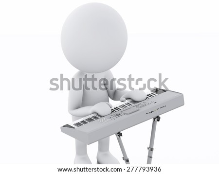 3d image. White person playing keyboard. Music concept. Isolated white background
