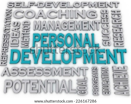 3d imagen Personal development  issues and concepts word cloud background