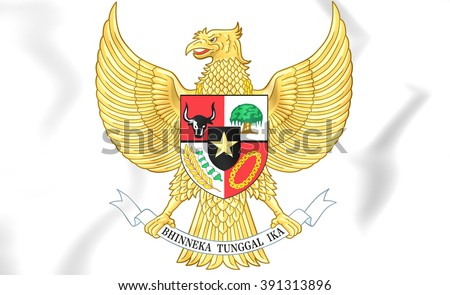 3D Indonesia Coat of Arms. Close Up.