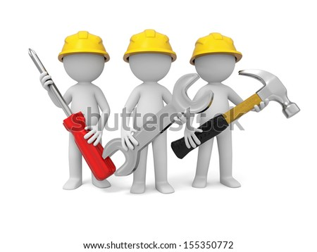 3 3d industrial workers  with screwdriver, hammer and wrench - stock photo