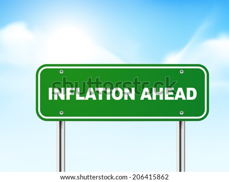 3d inflation ahead road sign isolated on blue background