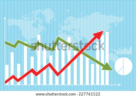 2d inflation and deflation graph - stock photo