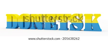 3d inscription Donetsk in color national flag of Ukraine - stock photo