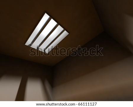 3d interior arquitecture background with bars of a jail - stock photo