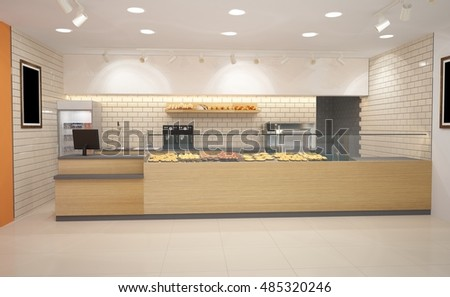3d interior design bakery
