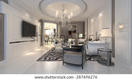 3D interior luxury design - stock photo