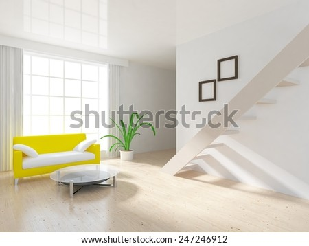 3D interior of a living room in flat with stairs - stock photo