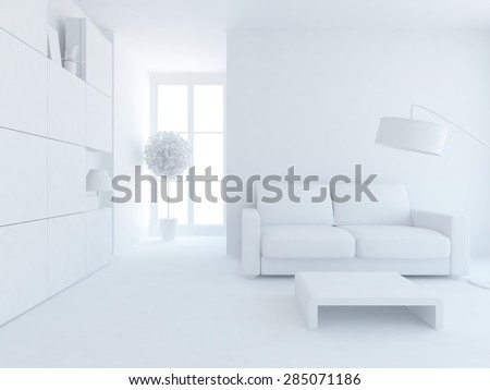 3d interior of a white room - stock photo
