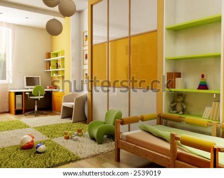 3d interior of the children's room - stock photo