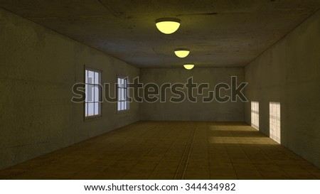 3d interior old room - stock photo