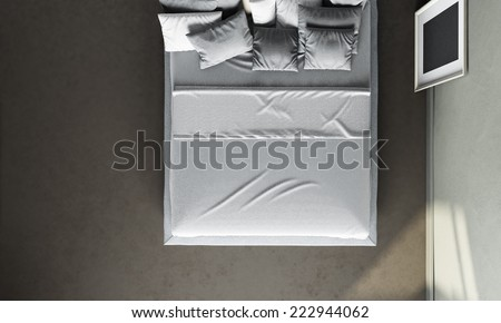 3d interior render of top view to bed - stock photo