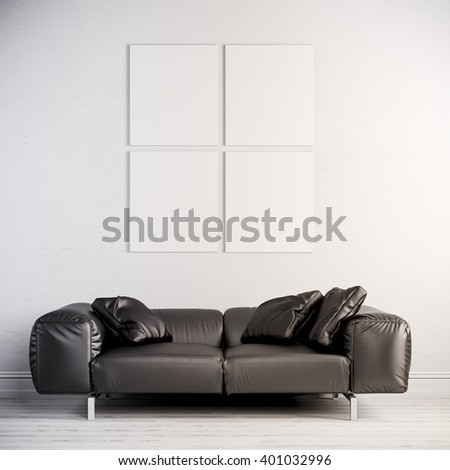 3d interior render  with leather couch and blank frame on white wall - stock photo