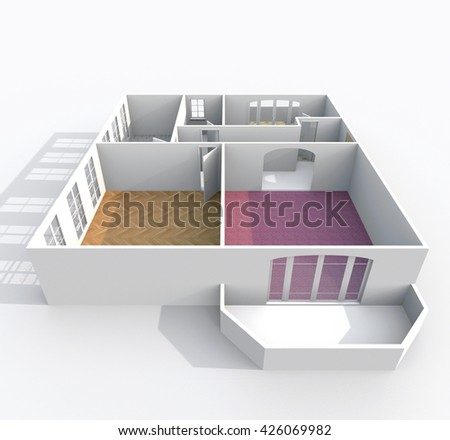 3d interior rendering oblique view of empty home apartment with pavement materials and balcony: room, bathroom, bedroom, kitchen, living-room, hall, entrance, door, window - stock photo