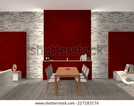 3D interior rendering of a modern dining room with copy space for images and photos - stock photo