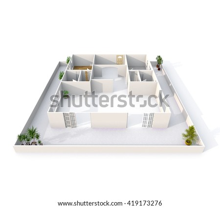 3d interior rendering of empty roofless apartment with balcony all around it: room, bathroom, bedroom, kitchen, living-room, hall, entrance, door, window, balcony - stock photo