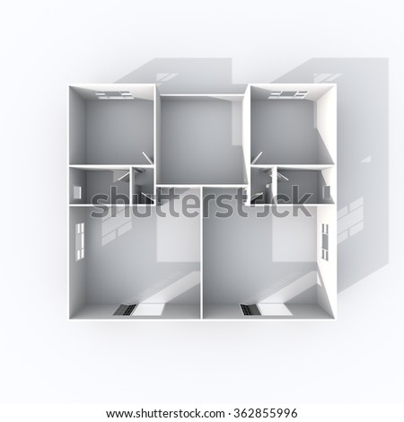 3d interior rendering of square paper model apartment - stock photo
