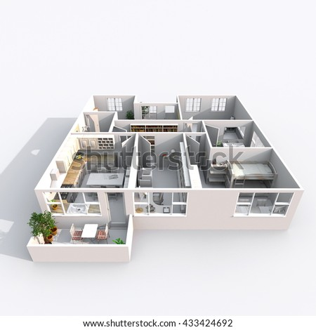3d Interior Rendering Perspective View Of Furnished Home Apartment With Balcony Room Bathroom