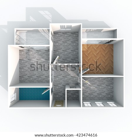 3d interior rendering plan view of empty roofless home apartment with pavement materials: room, bathroom, bedroom, kitchen, living-room, hall, entrance, door, window, balcony