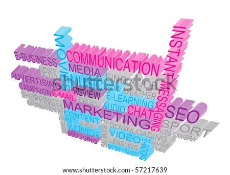 3D Internet Marketing Concept - stock photo