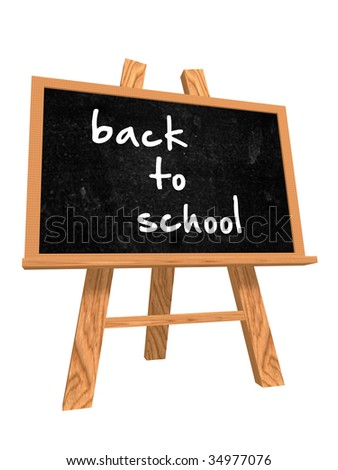3d isolated blackboard with easel with text - back to school - stock photo