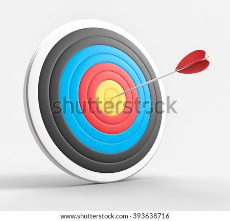 3D Isolated Bullseye Background. Success or Accuracy concept. - stock photo